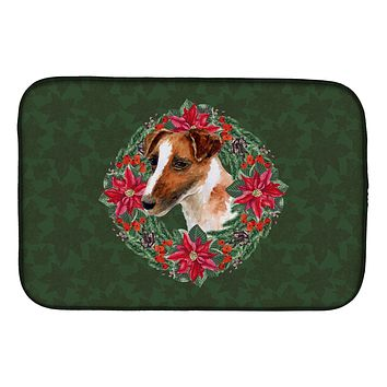 Smooth Fox Terrier Poinsetta Wreath Dish Drying Mat CK1513DDM
