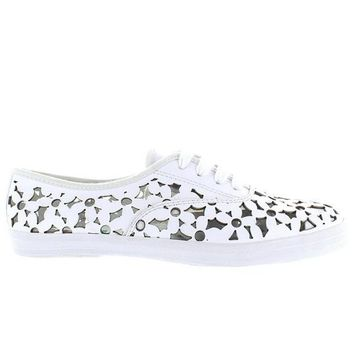 Jeffrey Campbell Peg Daisy - White Leather Floral Laser Cut Sneaker