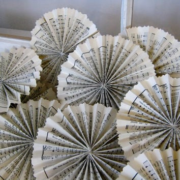 Shabby Chic Aged Paper Rosettes - Aged Sheet Music - Wedding Decor - Rustic Wedding - Sheet Music Flowers - Aged Paper Rosettes