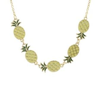 Yellow Pineapple Charm Necklace by Charlotte Russe