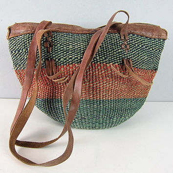 Vintage Leather Bag Jute Tribal Bucket Tote Bag Ethnic Market Woven Hippie Gypsy Shoulder Handbag