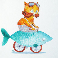 Cycling Cat Illustration - hipster fish bike, geek bicycle, quirky invention, vintage tabby, waxed moustache, children room art