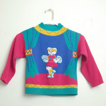 Vintage 80s/90s Bright and Colorful Child Kids Sweater With A Cheerleader Bear On Front