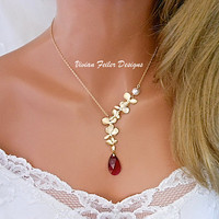 Red Wedding Jewelry Gold Orchid Necklace Ruby Red Necklace Pearl Bridal Bridesmaid Necklaces Prom Jewelry Maid of Honor