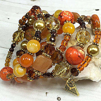 Orange Carnelian Natural Agate - Gifts for Mom - Mother's Day Gift - Memory Wire Bracelet - Orange Turquoise Bracelet - Boho Chic TDC1063
