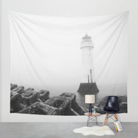 Lighthouse tapestry, lighthouse wall art, wall tapestry, wall hanging, black and white décor, large wall art, oversized art, fabric art