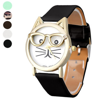 [BIG Discount] Relogio Feminino Cute Glasses Cat Analog Quartz Dial Wrist Watches