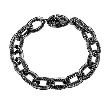 20.00ct Black Spinel in 925 Sterling Silver & 14K Oval Rolo Link Chain Bracelet 7.5""