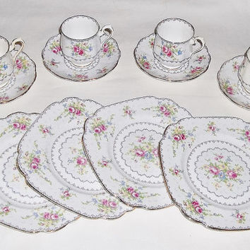 Vintage Royal Albert Petit Point Trios, Square Plate Demi Cup & Saucer