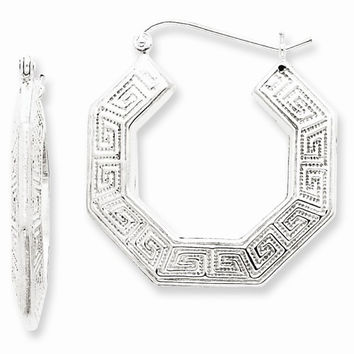 Sterling Silver Greek Key Hoop Earrings
