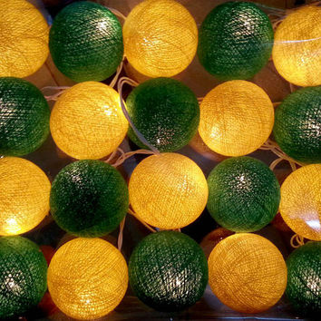 Yellow green aussie australia color cotton ball string light hanging lantern garland handmade party porch decor