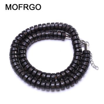 MOFRGO Coconut Shell Strand Beads Letter Male Bracelet With Stainless Steel Extender Chain Buddha Meditation Bracelets For Women