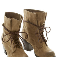 ModCloth Rustic You Winsome, You Enthuse Some Bootie in Taupe