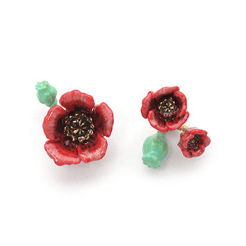 Poppy Earrings , Stud Earrings  , Flower Earrings - High quality enamel by GOODAFTERNINE