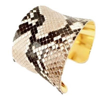 Python Leather Cuff Bracelet-by LEATHER WRAPS
