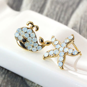 Women's Teen's Starfish Whale Stud Earrings Animal Theme Gold Plated Crystal Beach ware Nickel Free