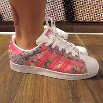 CREYNW6 Adidas Superstar II Originals Pink Floral Womens / Girls Casual Shoes - S75128
