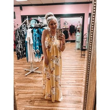 Island Time Yellow Floral Maxi Dress