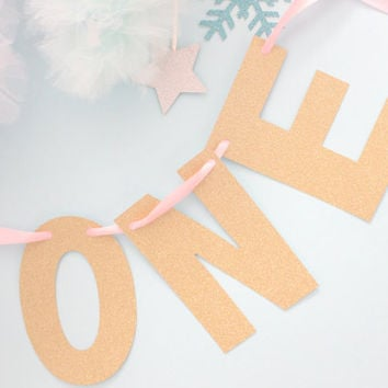 One Banner, First Birthday Banner, High Chair Banner in Glitter Gold. For Baby Shower, Pink and Gold Party, First Birthday