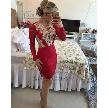 Robe de Soiree Black Red Lace Cocktail Dresses Backless Sheath Long Sleeve Short Prom Party Dress Gowns White Women Courte