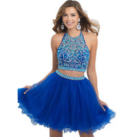 High quality Halter Royal Blue Homecoming Dresses 2016 Fashion Short Two Pieces Prom Dresses backless tulle vestidos de festa