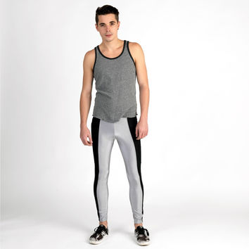 Black-Gray Striped Meggings Men's Leggings