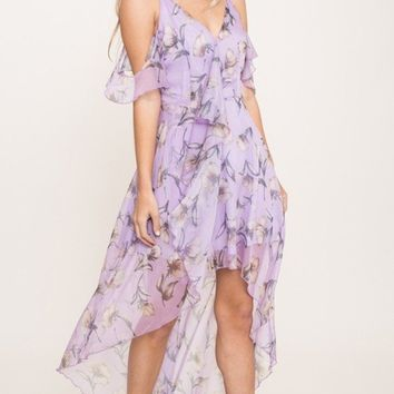 English Lavender Chiffon Dress