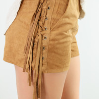 Desert Palm Suede Camel Zip-Up Shorts With Braided Side Fringe
