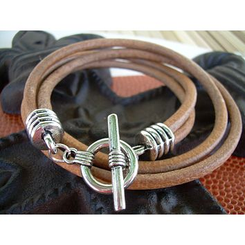 Double Strand Natural Leather Wrap Bracelet, Mens Bracelet, Mens Jewelry, Leather Bracelet, Mens Gift, Groomsmen, Jewelry, Gift for him