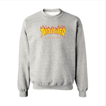 Fall and Winter Thrasher Flame Skateboard Tide Death Hip Hop West Coast Harajuku cotton round neck sweater Yellow letters
