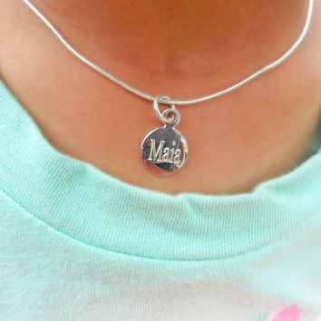 Little Girl Sterling Silver Engraved Circle Charm Necklace, Name Necklace, Toddler Necklace, Tiny Silver Necklace, Personalized Jewelry