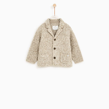 KNIT CARDIGAN WITH LAPEL COLLAR