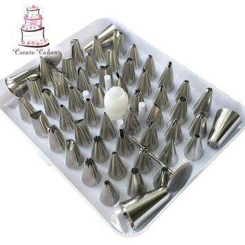 52pcs Russian Piping Tips Bag, Leaf Decoration Tip,Cake Tool Pastry Decorating Set Nozzles Pastry Baking and Pastry Tools JG0052