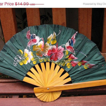 20% OFF SUMMER SALE Hand-painted Bamboo Dark Green Fan for Ladies
