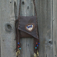 Fringed leather purse with beaded dragonfly totem, Leather smartphone cross body bag, Bohemian gypsy bag