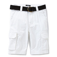 First Wave 8-20 Belted Twill Cargo Short - White