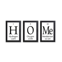 "Home Periodic Table Framed 3 Piece Wall Plaque Set Periodic Table Framed 3 Piece Wall Plaque Set  Each Plaque 5"" x 7"" - Geeky Home Decor"