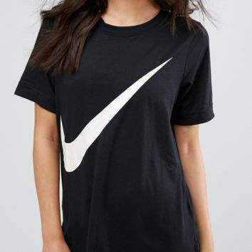 Nike Swoosh Big Logo Black Tee T-shirt