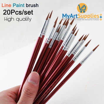 20 Artist Line Paint Brushes