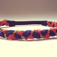 Burnt Orange, Navy Blue and Gold Braided Headband Hippie Headband Womens Hair Accessories Bohemian