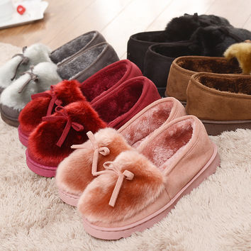 2016 Warm Slippers Women Winter Shoes Bowtie Plush Inside Loaferes Ladies Indoor Home Slippers Pantuflas Ladies Slip On Shoes