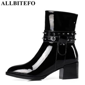 ALLBITEFO thick heel Patent leather brand rivets women boots medium heel high quality ankle boots martin boots plus size:33-43