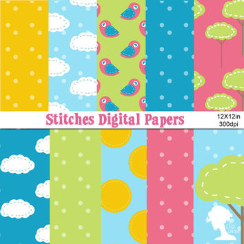 Digital Papers: INSTANT DOWNLOAD Stitching Clouds, Trees, Birds and Sun in Blue, Pink, Green & Yellow
