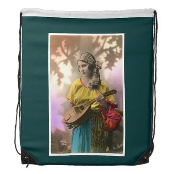 Vintage Gypsy Woman Drawstring Backpack