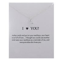 Silver Love Heart Card Alloy Clavicle Pendant Necklace  171208