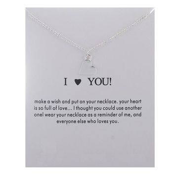 Silver Love Heart Card Alloy Clavicle Pendant Necklace   171212