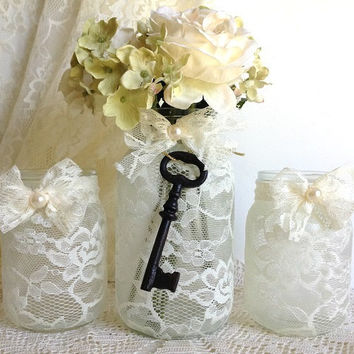 beige 3 piece lace covered candle holders and vase mason jars, gift, wedding decor or home decor