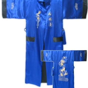 New Blue Black Chinese Male Satin Reversible Bathrobe Two-Face Lounge Sleepwear Embroidered Robe Gown Kimono Gown One Size MR004