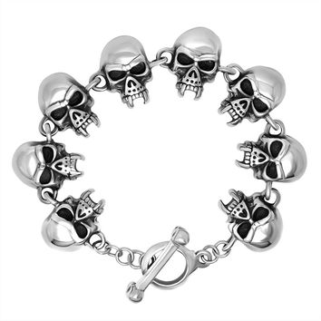 Gift Hot Sale Awesome Stylish New Arrival Shiny Great Deal Men Accessory Cool Vintage Skull Titanium Bracelet [6526708931]
