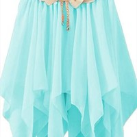 A 072401 Solid color pleated chiffon skirt irregular from cassie2013